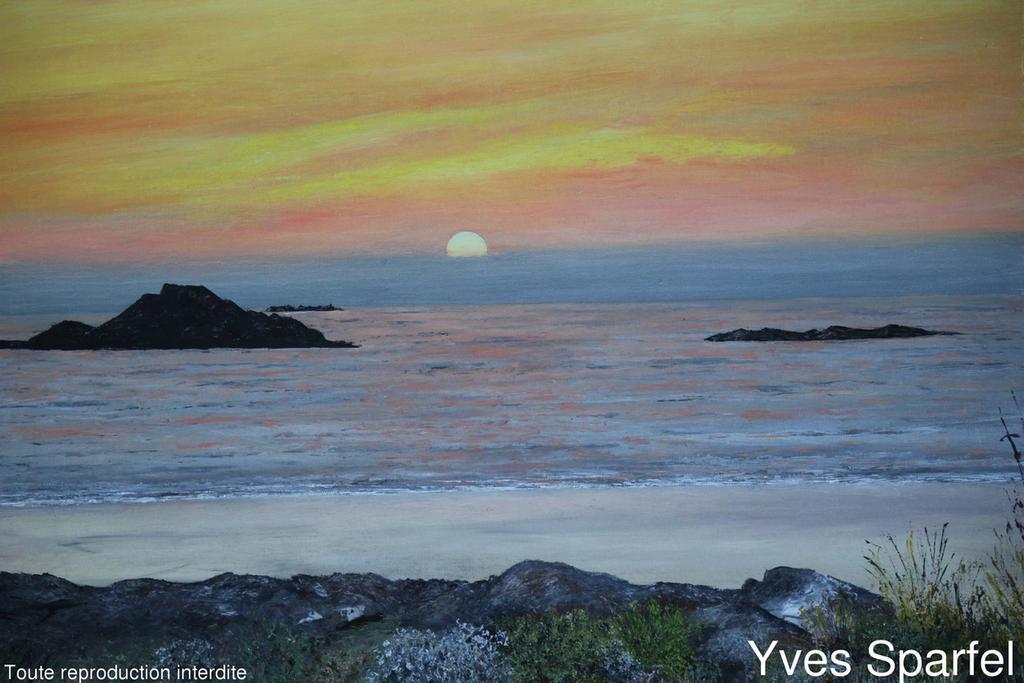 Tableau bretagne un soir sur la mer galerie peintures for Tableau sur la mer